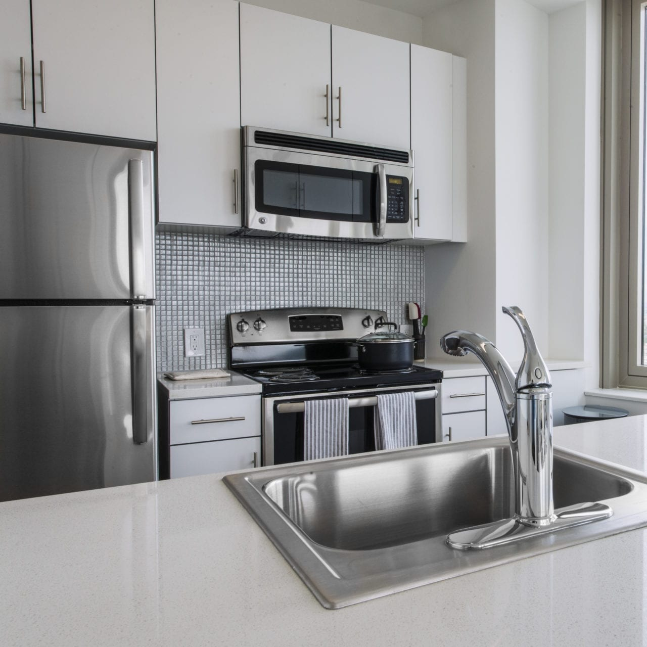 Stainless Steel Appliances & White Quartz Countertops
