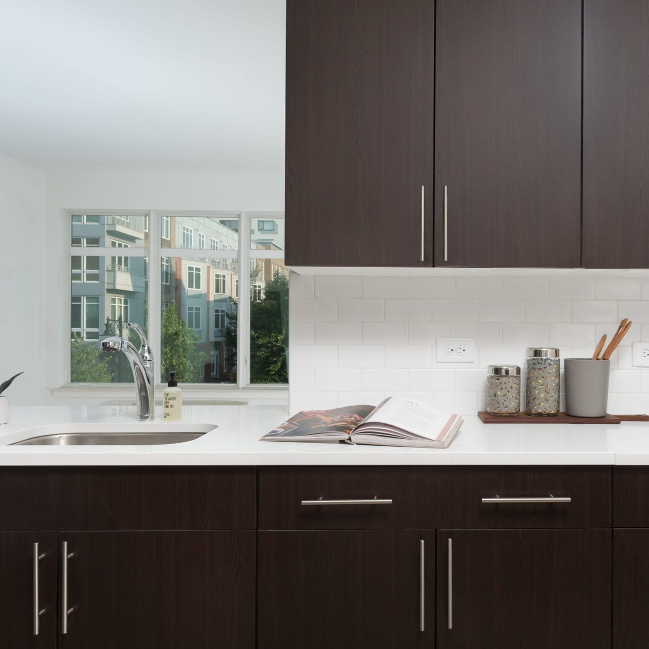 Oak Cabinets and Caesarstone Counters
